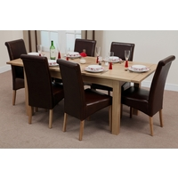 Image of: Cairo Solid Oak Extending Dining Table 5ft x 3ft + 6 Brown Leather Scroll Back Dining Chairs