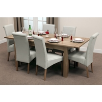 Image of: Cairo Solid Oak Extending Dining Table 5ft x 3ft + 6 Cream Leather Scroll Back Dining Chairs