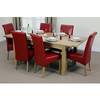 Image of: Cairo Solid Oak Extending Dining Table 5ft x 3ft + 6 Red Leather Scroll Back Dining Chairs