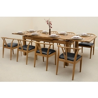 Image of: Rustic Solid Oak Extending Dining Table 6ft x 3ft + 8 Round Solid Oak and Black Leather Dining Chairs