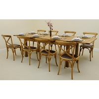 Image of: Rustic Solid Oak Extending Dining Table 6ft x 3ft + 8 Rustic Bistro Oak and Brown Leather Chairs