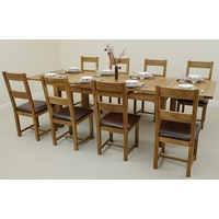 Image of: Rustic Solid Oak Extending Dining Table 6ft x 3ft + 8 Rustic Solid Oak and Leather Dining Chairs