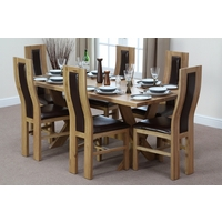 Image of: Solid Oak Crossed Leg Dining Table 6ft x 3ft + 6 Curved Back Brown Leather Chairs