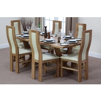 Image of: Solid Oak Crossed Leg Dining Table 6ft x 3ft + 6 Curved Back Cream Leather Chairs