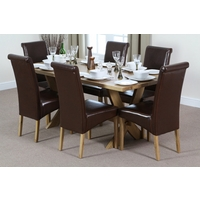 Image of: Solid Oak Crossed Leg Dining Table 6ft x 3ft + 6 Scroll Back Brown Leather Chairs