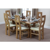 Image of: Solid Oak Crossed Leg Dining Table 6ft x 3ft + 6 Wave Back Cream Leather Chairs