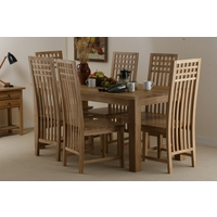 Image of: Solid Oak Dining Table 6ft x 3ft + 6 Solid Oak Highback Chairs - Dining Tables