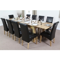 Image of: Solid Oak Extending Dining Table 6ft x 3ft + 10 Black Leather Scroll Back Chairs