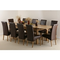 Image of: Solid Oak Extending Dining Table 6ft x 3ft + 10 Brown Leather Scroll Back Chairs