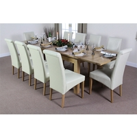 Image of: Solid Oak Extending Dining Table 6ft x 3ft + 10 Cream Leather Scroll Back Chairs