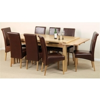 Image of: Solid Oak Extending Dining Table 6ft x 3ft + 8 Brown Leather Scroll Back Chairs