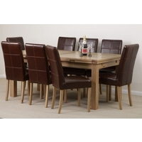 Image of: Solid Oak Extending Dining Table 6ft x 3ft + 8 Brown Leather Stitch Back Chairs