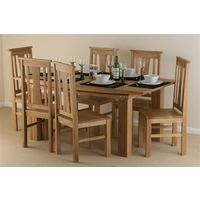 Image of: Tokyo Solid Oak Dining Table 6ft x 3ft + 6 Solid Oak Chairs - Dining Tables