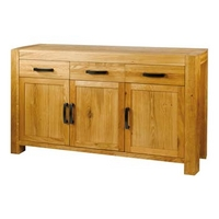 Image of: Acadia Solid Oak 3 Door 3 Drawer Sideboard Furniture