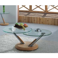 Image of: Acai Glass Extending Coffee Table in Oak - Coffee Tables