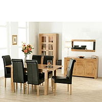 Image of: Acre Oak 10 Piece Dining Room Furniture Set and Roll Back Chairs - Dining Tables