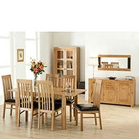 Image of: Acre Oak 10 Piece Dining Room Furniture Set and Slat Back Chairs - Dining Tables