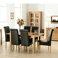 Image of: Acre Oak Rectangular Extending 4 Seater Dining Set and Roll Back Chairs - Dining Tables