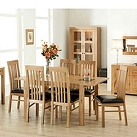 Image of: Acre Oak Rectangular Extending 4 Seater Dining Set and Slat Back Chairs - Dining Tables