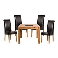 Image of: Acre Oak Square 4 Seater Dining Set and Roll Back Chairs - Dining Tables