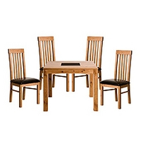Image of: Acre Oak Square 4 Seater Dining Set and Slat Back Chairs - Dining Tables