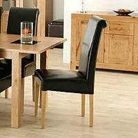 Image of: Acre Oak Upholstered Roll Back Dining Chair - Dining Chairs