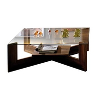 Image of: Adeline Square Coffee Table with Glass Top - Coffee Tables