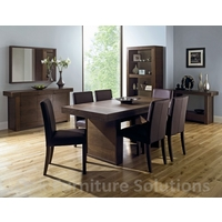 Image of: Dining Table - Akita Walnut 6 Seater Panel Dining Table and 6 Square Back Brown Chairs
