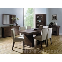 Image of: Dining Table - Akita Walnut 6 Seater Panel Dining Table and 6 Square Back Ivory Chairs