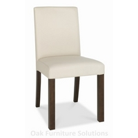 Image of: Akita Walnut Square Back Ivory Dining Chairs - Pair of Dining Chairs