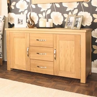 Image of: Aldan Solid Oak 2 Door 3 Drawer Sideboard - Sideboards