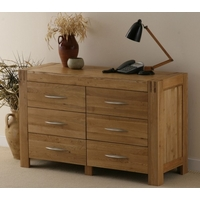 Image of: Alto Solid Oak 6 Drawer Wide Chest - Chest Of Drawers