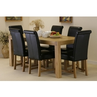 Image of: Dining Table - Alto Solid Oak 6ft x 3ft Dining Table and 6 Black Braced Scroll back chairs