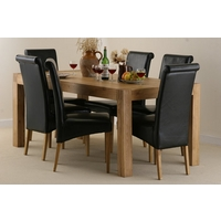 Image of: Dining Table - Alto Solid Oak 6ft x 3ft Dining Table and 6 Black Scroll back chairs