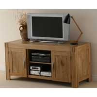 Image of: Alto Solid Oak Widescreen TV + DVD Cabinet - Oak TV Cabinets