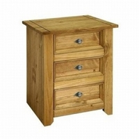 Image of: Amalfi Antique Waxed Effect Pine 3 Drawer Bedside Locker - Bedside Tables