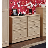 Image of: Amelie 3+3 Drawer Wide Chest in Light Oak - Chest Of Drawers
