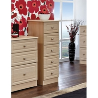 Image of: Amelie 5 Drawer Narrow Chest in Light Oak - Chest Of Drawers