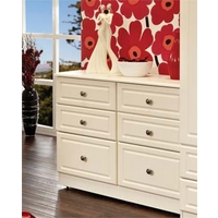 Image of: Amelie Cream Wide 3+3 Drawer Chest - Chest Of Drawers