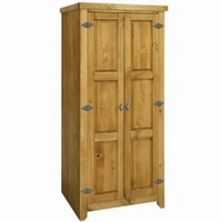 Image of: Antique Waxed Effect Pine 2 Door Wardrobe - Amalfi Range Wardrobes