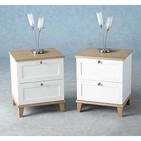 Image of: Arcadia Ash 2 Drawer Bedside Table - Bedside Tables and Drawers
