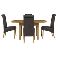 Image of: John Lewis - Ardennes Round Sarlat Extending Dining Table + 4 Patricia Chairs in Brown