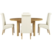 Image of: John Lewis - Ardennes Round Sarlat Extending Dining Table + 4 Patricia Chairs in Cream