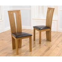 Image of: Astoria Oak Dining Chairs with Brown - Black or Cream Leather Seat - Pair of Dark Brown Chairs