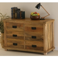 Image of: Baku Light Mango 6 Drawer Chest - Chest Of Drawers - Mango