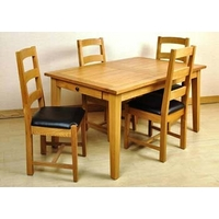 Image of: Dining Table - Balint Large Extending Dining Set and 4 Slatted Back Chairs in Natural Oak