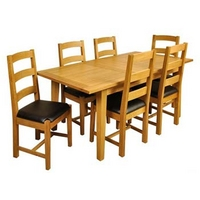 Image of: Dining Table - Balint Large Extending Dining Set and 6 Slatted Back Chairs in Natural Oak
