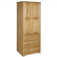 Image of: Balmoral 2 Door - 3 Drawer Wardrobe - Honey Finish Pine with Real Dovetail Drawers