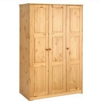 Image of: Balmoral 3 Door Wardrobe Honey Finished Pine - Wardrobes