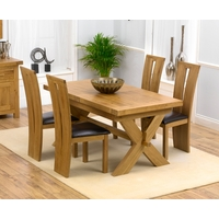Image of: Bellano Solid Oak Extending Dining Table, 4 Astoria Chairs with Leather Seats - Brown